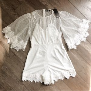 Nasty Gal White Lace Trim Dobby Hem Playsuit